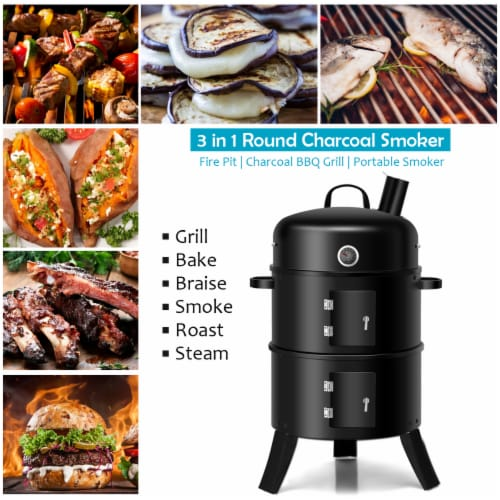 Costway 3-in-1 Portable Round Charcoal Smoker Vertical BBQ Grill Built-in Thermometer Perspective: right