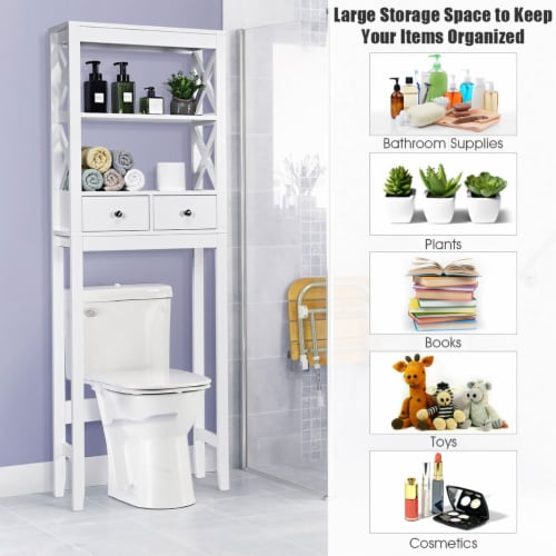 Costway Over The Toilet Space Saver Bathroom Organizer Storage Shelf w/ 2 Drawers White Perspective: right