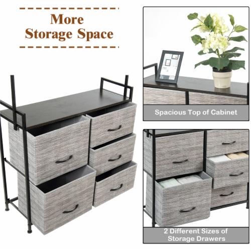 Costway 5 Drawer Fabric Dresser Hanger Metal Frame Wooden Top Storage Closet Organizer Perspective: right