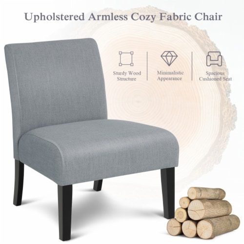 Costway Armless Accent Chair Fabric Leisure Chair Single Sofa w/Rubber Wood Legs Gray Perspective: right