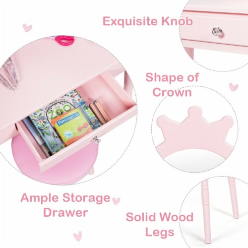 Gymax Kids Vanity Makeup Table & Chair Set Make Up Stool Play Set for Children Pink Perspective: right