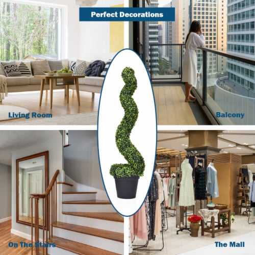 Costway 2PC 4ft Artificial Boxwood Spiral Tree In/Outdoor Office Garden Patio Decoration Perspective: right