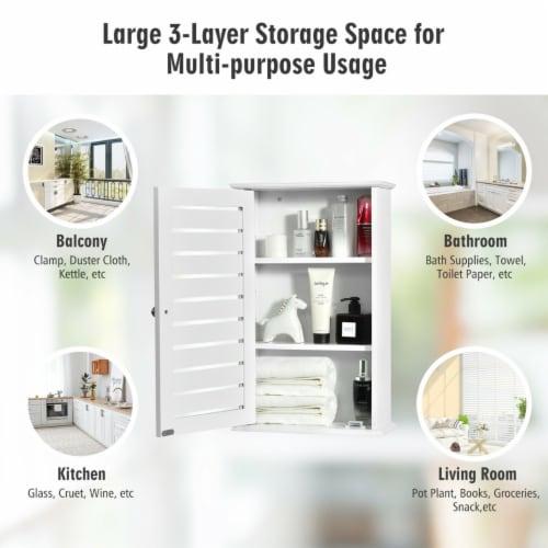 Gymax Wall Mount Medicine Cabinet Multifunction Storage Organizer Bathroom Kitchen Perspective: right