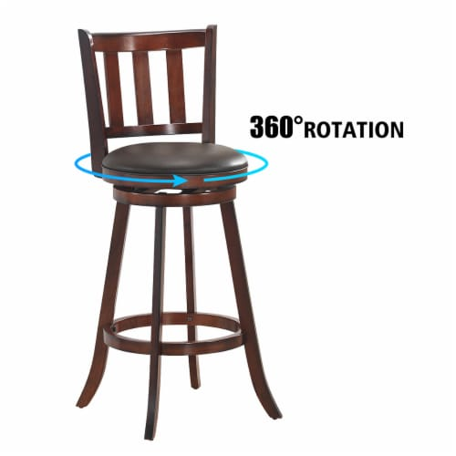 Costway Set of 2 29.5'' Swivel Bar stool Leather Padded Dining Kitchen Pub Bistro Chair High Perspective: right