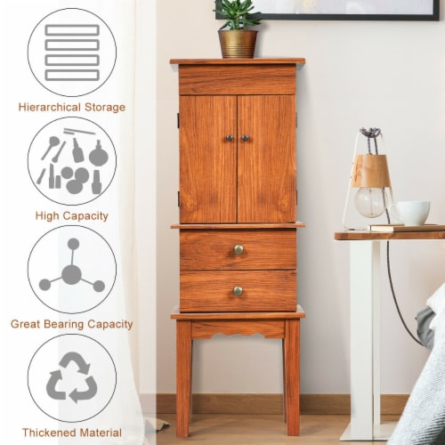 Costway Vintage Jewelry Cabinet Chest Storage Organizer Drawers&Mirror Perspective: right