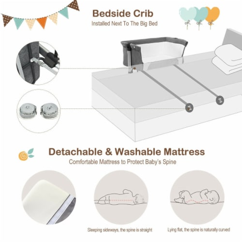 Baby joy Portable Baby Bed Side Sleeper Infant Travel Bassinet Crib W/Carrying Bag Grey Perspective: right