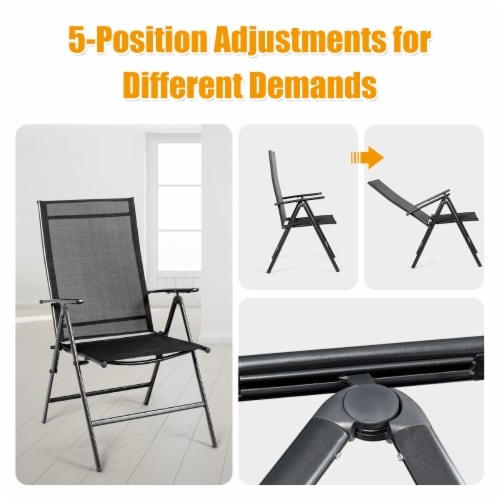 Costway 4PCS Patio Folding Dining Chair Recliner Adjustable Black Perspective: right