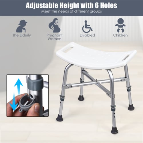 Costway Shower Chair Bath Stool 6 Adjustable Height Bathtub Seat Transfer Bench Non-Slip Perspective: right