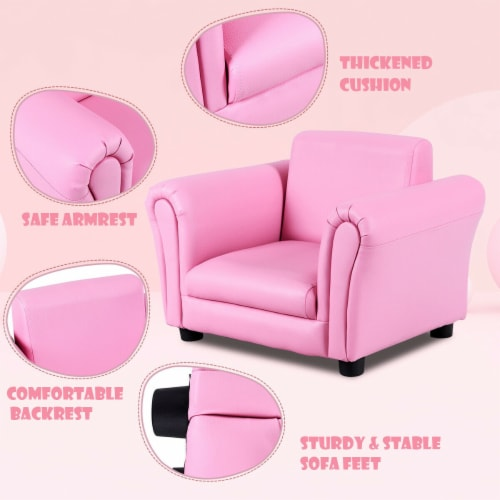 Costway Pink Kids Sofa Armrest Chair Couch Children Toddler Birthday Gift w/ Ottoman Perspective: right