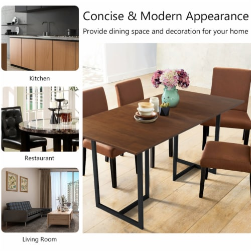 Costway 63'' Console Dining Table Rectangular Kitchen Table w/ Metal Frame and Wood Top Perspective: right