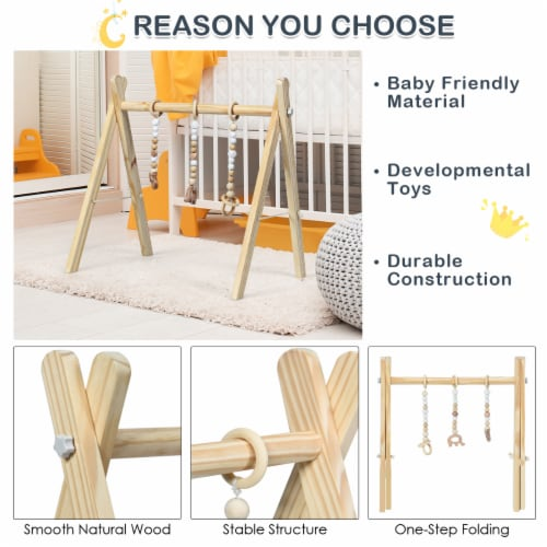 Foldable Wooden Baby Gym with 3 Wooden Baby Teething Toys Hanging Bar Natural Perspective: right