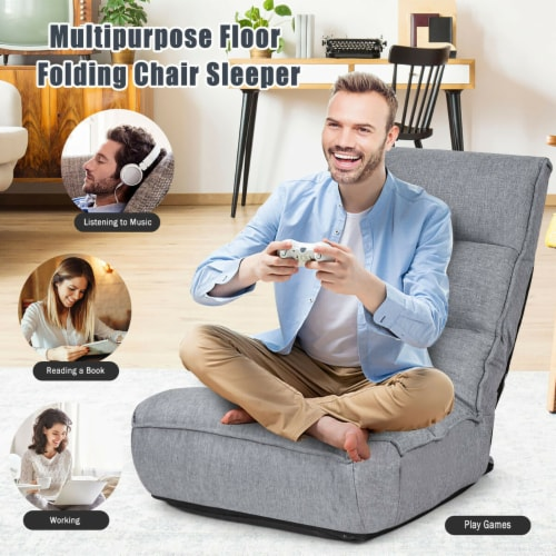 Costway 4-Position Floor Chair Folding Lazy Sofa w/Adjustable Backrest& Headrest Gray Perspective: right