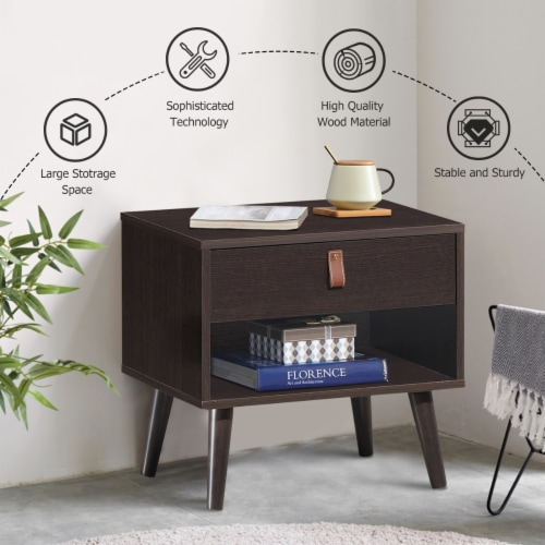 Costway Nightstand Sofa Side End Table Bedside Table Drawer Storage Perspective: right
