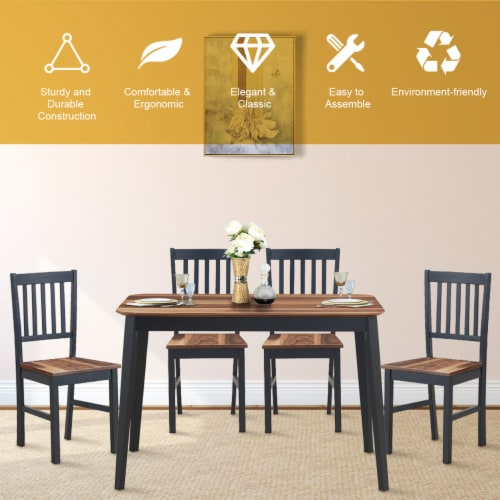 Set of 4 Dining Chair Kitchen Black Spindle Back Side Chair with Solid Wooden Legs Perspective: right
