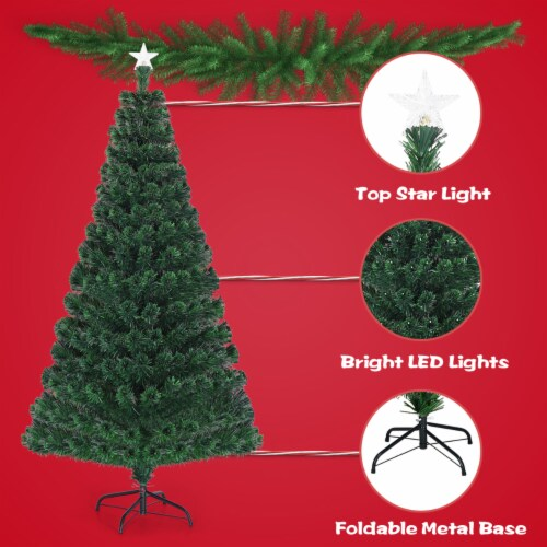 Costway Fiber Optic Pre-Lit Christmas Tree 180 Lights Top Star 5ft Perspective: right