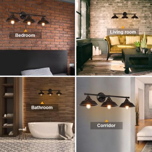 Costway Modern Industrial 3-Light Bathroom Wall Sconce Fixture Vanity/Bathroom Wall Lamp Perspective: right