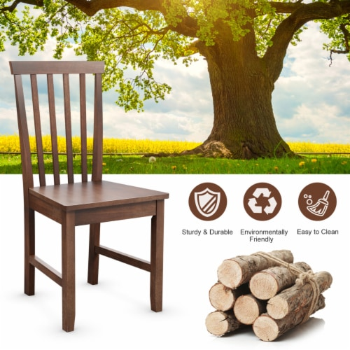 Costway Set of 2 Dining Chair Brown Kitchen Spindle Back Side Chair with Solid Wooden Legs Perspective: right