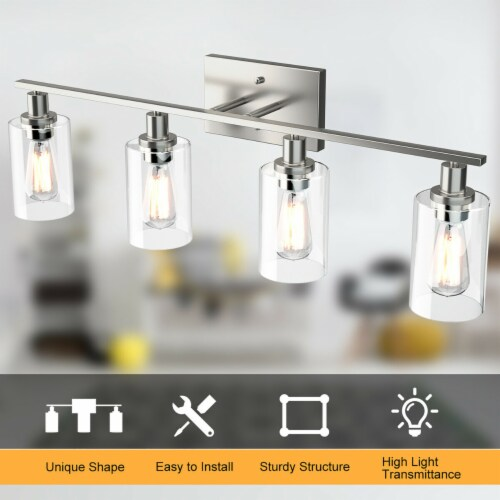 Costway 4-Light Wall Sconce Modern Bathroom Vanity Light Fixtures w/ Clear Glass Shades Perspective: right