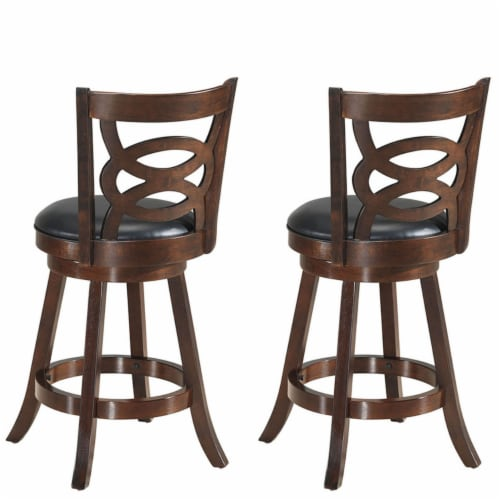 Costway Set of 2 Bar Stools 24'' Height Wooden Swivel Backed Dining Chair Home Kitchen Perspective: right