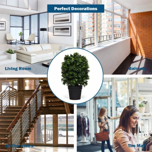 Costway 2PC 24'' Artificial Boxwood Topiary Ball Tree Office Garden Patio Desk Decoration Perspective: right