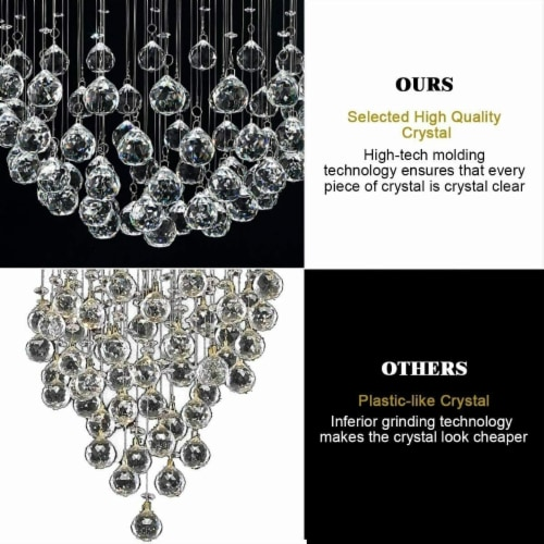 Crystal Chandelier Flush Mount Modern Pendant Lamp with Shiny Crystal Balls Perspective: right