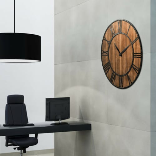 Costway 30'' Round Wall Clock Decorative Wooden Clock Come With Battery Perspective: right
