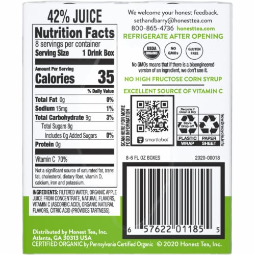 Honest Kids Organic Appley Ever After Juice Cartons Perspective: right