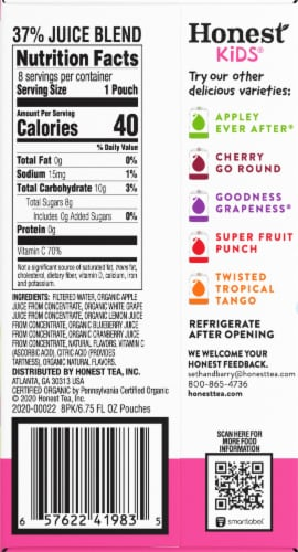 Honest Kids Organic Berry Berry Good Lemonade Pouches Perspective: right
