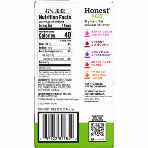 Honest Kids Organic Appley Ever After Juice Pouches Perspective: right