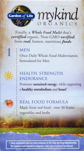 Garden of Life myKind Organics Men's Once Daily Multivitamin Vegan Tablets Perspective: right