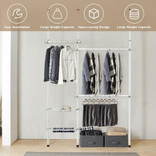 Gymax Double 2 Tier Telescopic Garment Rack Adjustable Closet Organizer w/ Baskets Perspective: right
