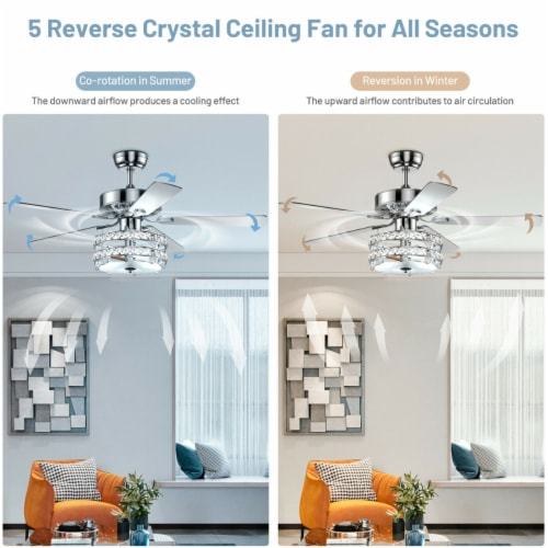 Gymax 52'' Classical Crystal Ceiling Fan Lamp w/ Reversible Blades Remote Control Home Perspective: right