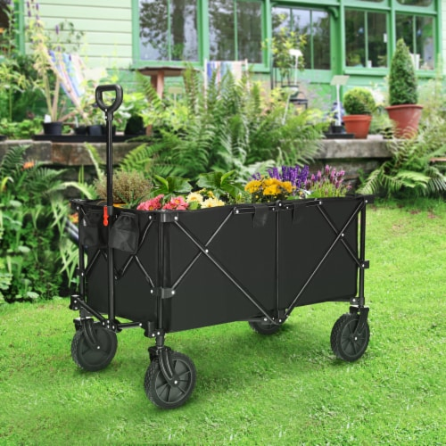 Costway Collapsible Folding Wagon Cart Outdoor Utility Garden Trolley Buggy Shopping Toy Perspective: right