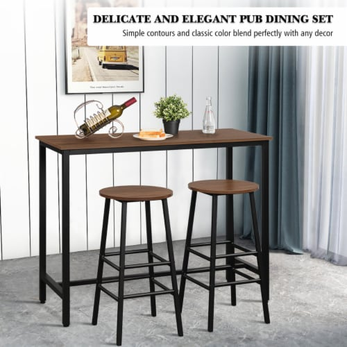 Costway 3 Piece Bar Table Set Pub Table and 2 Stools Counter Kitchen Dining Set Brown Perspective: right