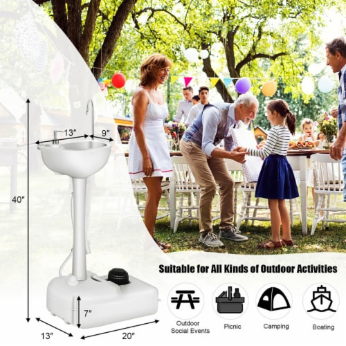 Costway 5 Gallon Portable Wash Sink  Hand Wash Basin Stand Perspective: right