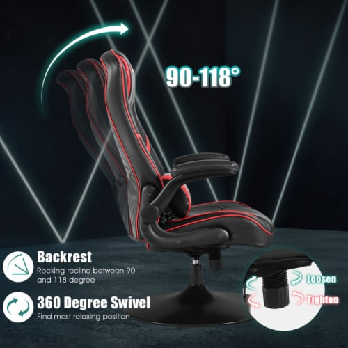 Goplus Gaming Rocker Chair Racing Style Swivel Computer Office Chair w/Flip Up Armrests Perspective: right