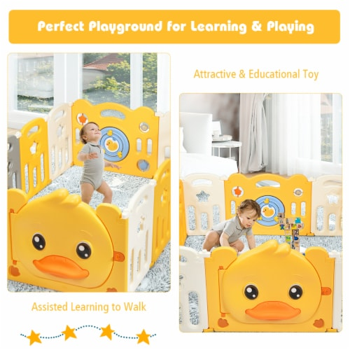 Costway 16-Panel Foldable Baby Playpen Kids Yellow Duck Yard Activity Center w/  Sound Perspective: right