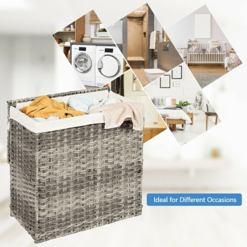 Gymax Hand-woven Laundry Basket Foldable Rattan Laundry Hamper W/Removable Bag Grey Perspective: right