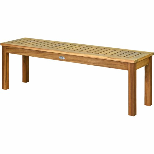 Costway 52'' Outdoor Acacia Wood Dining Bench Chair with Slatted Seat Perspective: right