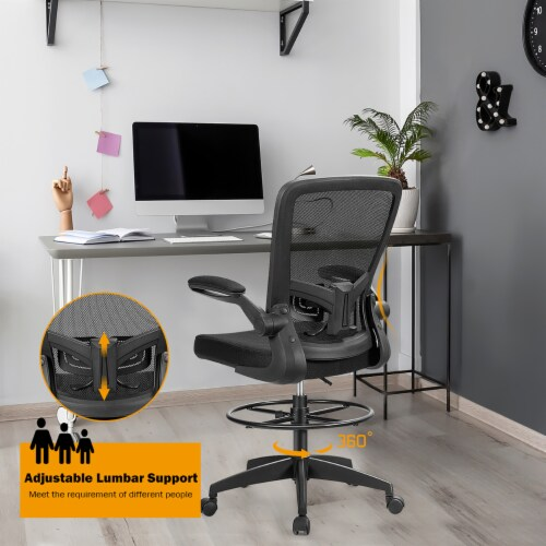 Costway Tall Office Chair Adjustable Height w/Lumbar Support Flip Up Arms Perspective: right