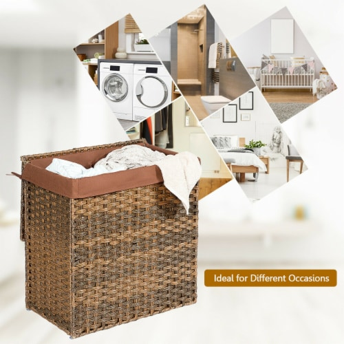 Gymax Hand-woven Laundry Basket Foldable Rattan Laundry Hamper W/Removable Bag Brown Perspective: right
