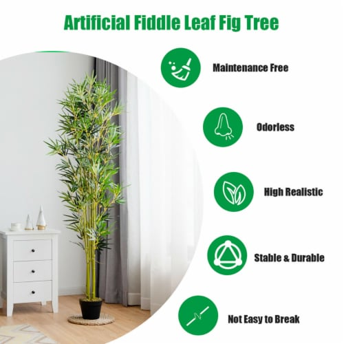 Costway 6 ft Artificial Bamboo Silk Tree Indoor Outdoor Home Office Decorative Planter Perspective: right