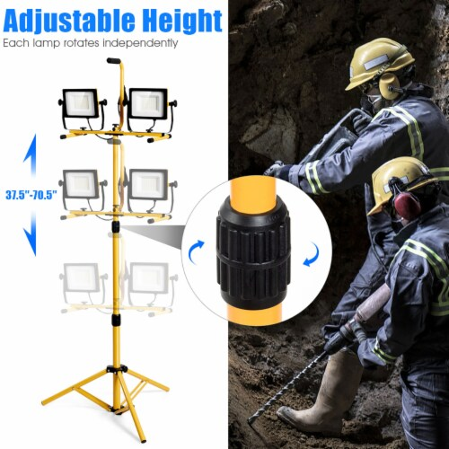 Costway 100W 10,000lm LED Dual-Head Work Light w/Adjustable Tripod Stand IP65 Waterproof Perspective: right