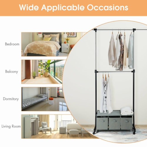 Costway 2-Rod Adjustable Garment Rack Rolling Clothes Organizer w/ Shelf & Storage Boxes Perspective: right