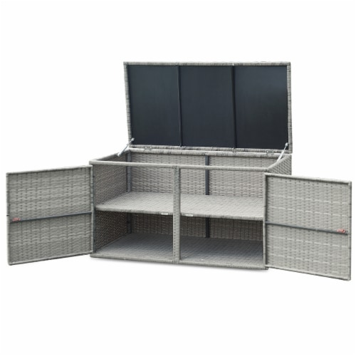 Gymax 88 Gallon Rattan Storage Box Outdoor Patio Container Seat w/ Shelf Door Perspective: right