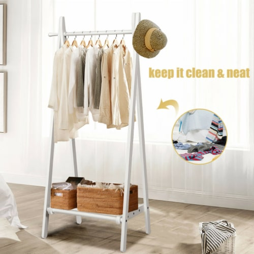 Gymax A-Frame Wood Garment Rack Clothing Hanging Rack w/Storage Shelf Entryway Bedroom Perspective: right