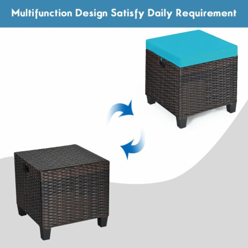Costway 2PCS Patio Rattan Ottoman Cushioned Seat Foot Rest Coffee Table Turquoise Perspective: right