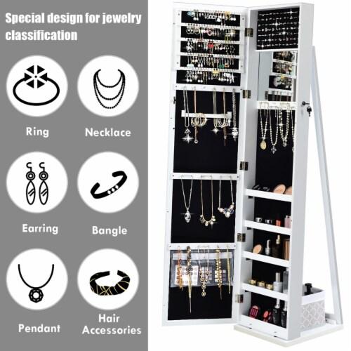 Costway Mirrored Jewelry Cabinet Lockable Standing Storage Organizer W/ Shelf Perspective: right