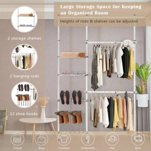 Gymax Double 2 Tier Telescopic Garment Rack Cloth Closet Organizer w/Shoe Rack & Shelf Perspective: right