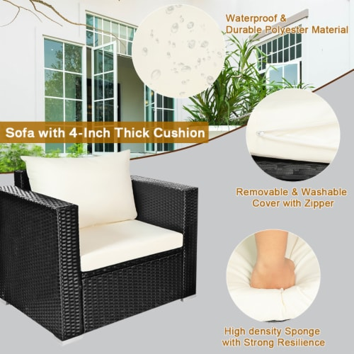 Costway 4PCS Patio Rattan Furniture Set Cushioned Sofa Chair Coffee Table Off White Perspective: right